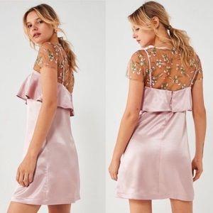 Kimchi Blue Pink Rose Ruffle Mini Slip Dress